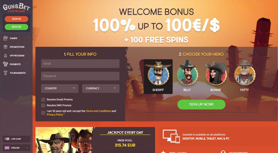GunsBet Online Casino review